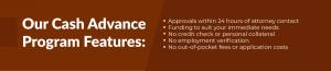 Our Cash Advance Program Features banner